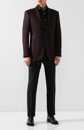 Мужская хлопковая сорочка KITON черного цвета, арт. UCCH0701307 | Фото 2