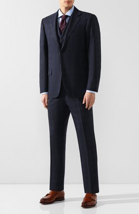 Мужской шерстяной костюм-тройка KITON темно-синего цвета, арт. UAGL81K01X43 | Фото 1