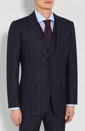 Мужской шерстяной костюм-тройка KITON темно-синего цвета, арт. UAGL81K01X43 | Фото 2