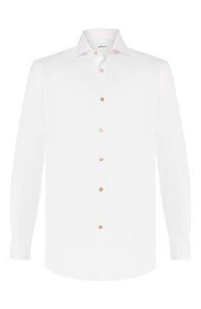 Мужская хлопковая сорочка KITON белого цвета, арт. UCIH000340100B | Фото 1