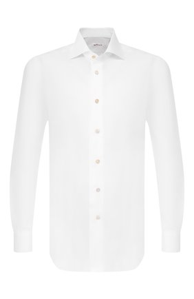 Мужская хлопковая сорочка KITON белого цвета, арт. UCIDFAP2/P0003401/P5 | Фото 1