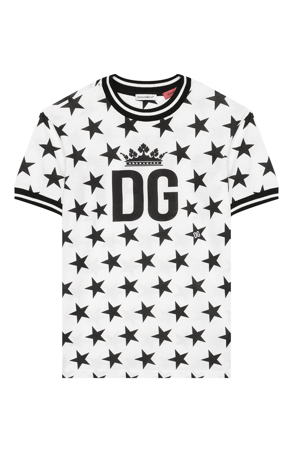 Детская хлопковая футболка DOLCE & GABBANA черно-белого цвета, арт. L4JT7L/G7VBM/2-6 | Фото 1