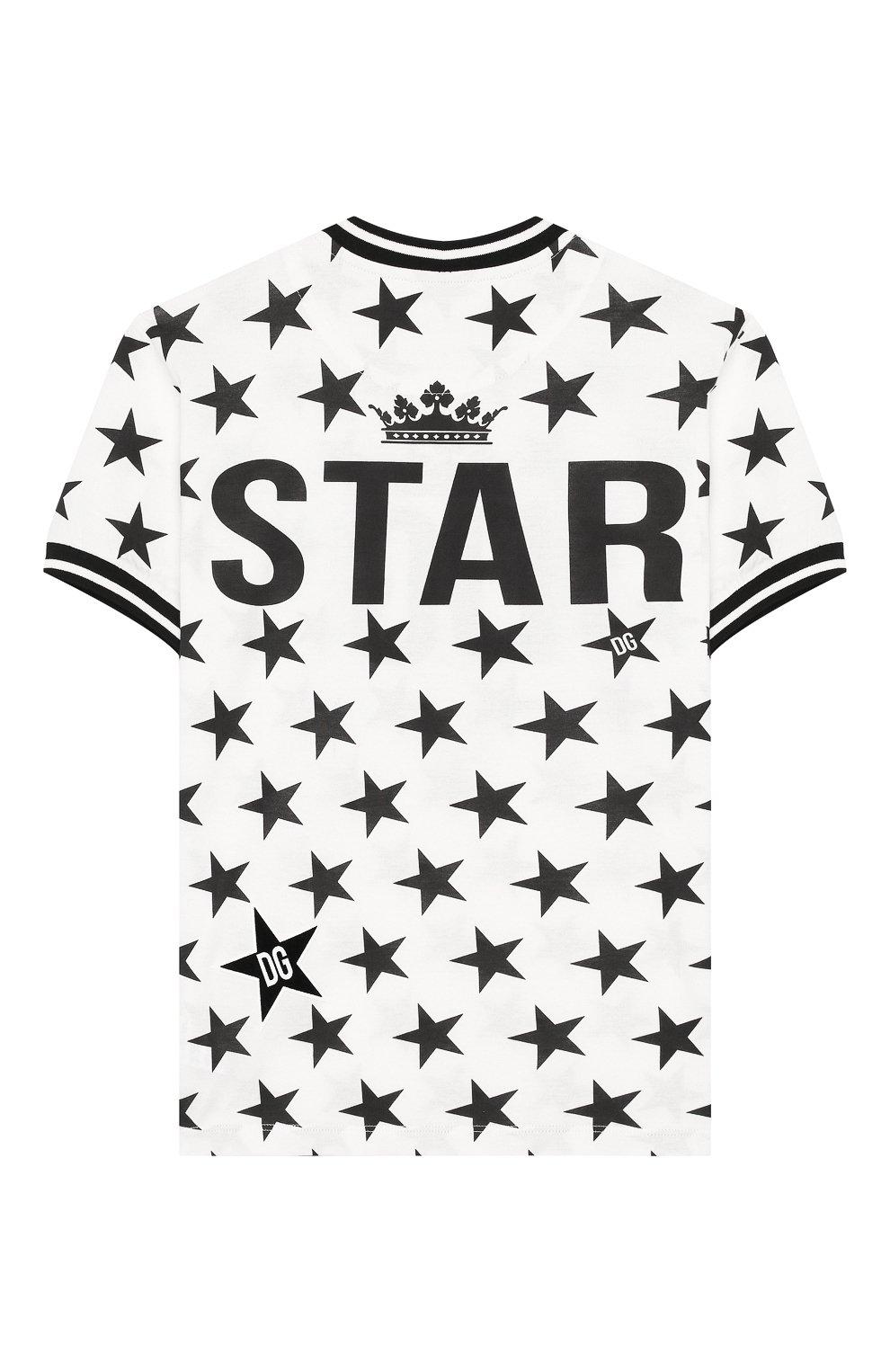 Детская хлопковая футболка DOLCE & GABBANA черно-белого цвета, арт. L4JT7L/G7VBM/2-6 | Фото 2
