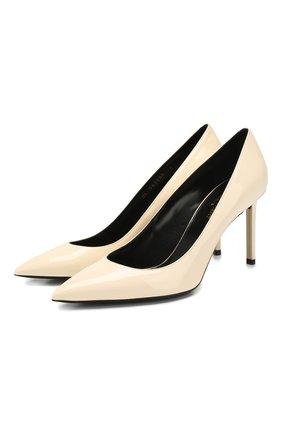 Женская кожаные туфли anja SAINT LAURENT кремвого цвета, арт. 582299/0NP00 | Фото 1