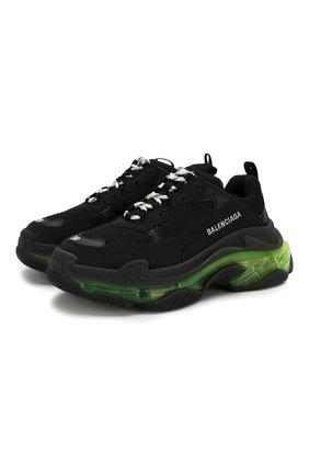 Женские комбинированные кроссовки triple s BALENCIAGA черного цвета, арт. 544351/W090N | Фото 1