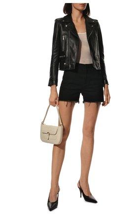Женские джинсовые шорты SAINT LAURENT черного цвета, арт. 611755/YF899 | Фото 2