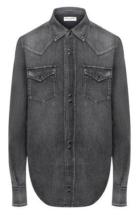 Женская хлопковая рубашка SAINT LAURENT темно-серого цвета, арт. 601263/Y881S | Фото 1 (Материал внешний: Хлопок; Рукава: Длинные; Длина (для топов): Удлиненные; Принт: Без принта; Женское Кросс-КТ: Рубашка-одежда)