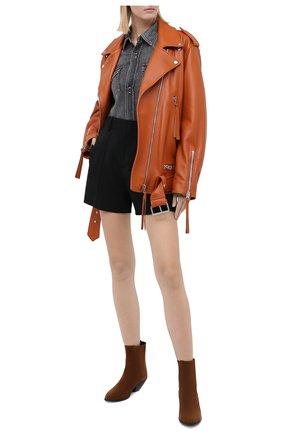 Женская хлопковая рубашка SAINT LAURENT темно-серого цвета, арт. 601263/Y881S | Фото 2 (Материал внешний: Хлопок; Рукава: Длинные; Длина (для топов): Удлиненные; Принт: Без принта; Женское Кросс-КТ: Рубашка-одежда)