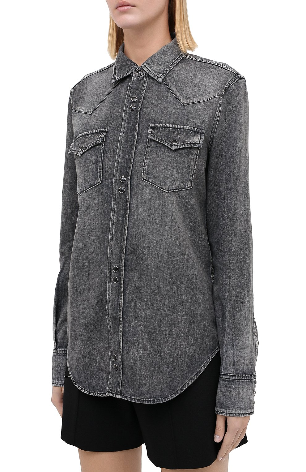 Женская хлопковая рубашка SAINT LAURENT темно-серого цвета, арт. 601263/Y881S   Фото 3