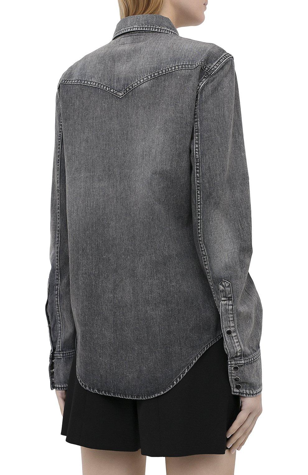 Женская хлопковая рубашка SAINT LAURENT темно-серого цвета, арт. 601263/Y881S   Фото 4
