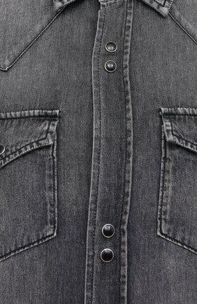 Женская хлопковая рубашка SAINT LAURENT темно-серого цвета, арт. 601263/Y881S   Фото 5