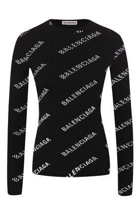 Женская пуловер с логотипом бренда BALENCIAGA черно-белого цвета, арт. 570844/T6140 | Фото 1