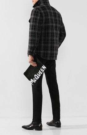 Мужская кожаный клатч ALEXANDER MCQUEEN черно-белого цвета, арт. 560472/1NT0B | Фото 2