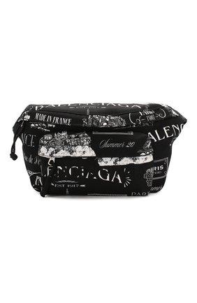 Мужская текстильная поясная сумка BALENCIAGA черно-белого цвета, арт. 533009/9MIHN | Фото 1