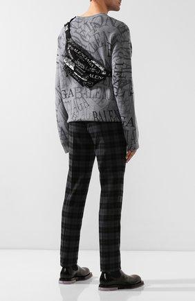Мужская текстильная поясная сумка BALENCIAGA черно-белого цвета, арт. 533009/9MIHN | Фото 2