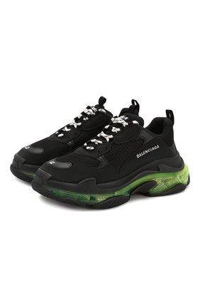 Мужские комбинированные кроссовки triple s clear sole BALENCIAGA черного цвета, арт. 541624/W090N | Фото 1