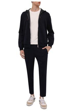 Мужской хлопковые брюки BRUNELLO CUCINELLI темно-синего цвета, арт. M0T313212G | Фото 2