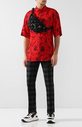 Мужская текстильная поясная сумка BALENCIAGA черно-белого цвета, арт. 482389/9EL95 | Фото 2