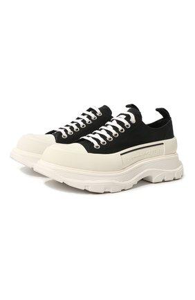 Мужские текстильные кроссовки ALEXANDER MCQUEEN черно-белого цвета, арт. 604257/W4L32 | Фото 1