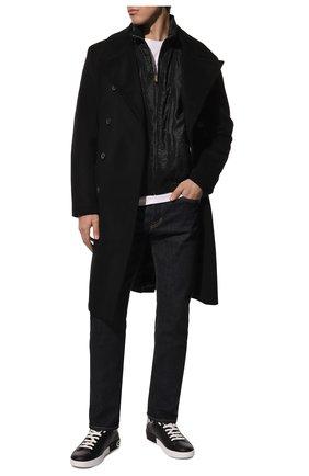 Мужские кожаные кеды portofino DOLCE & GABBANA черно-белого цвета, арт. CS1760/AH527 | Фото 2