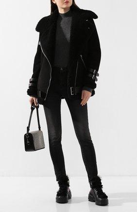 Женская дубленка с косой молнией ACNE STUDIOS черного цвета, арт. 1AR173 | Фото 2