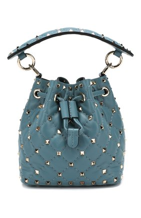 Женская сумка rockstud spike mini VALENTINO голубого цвета, арт. TW2B0F55/NAP   Фото 1 (Ремень/цепочка: На ремешке; Материал: Натуральная кожа; Размер: mini; Сумки-технические: Сумки через плечо, Сумки top-handle; Женское Кросс-КТ: Вечерняя сумка)