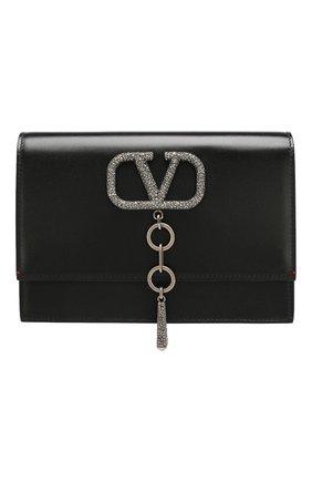 Женская сумка vcase small VALENTINO черного цвета, арт. TW2B0E61/JCM   Фото 1 (Материал: Натуральная кожа; Размер: small; Ремень/цепочка: На ремешке; Сумки-технические: Сумки через плечо)