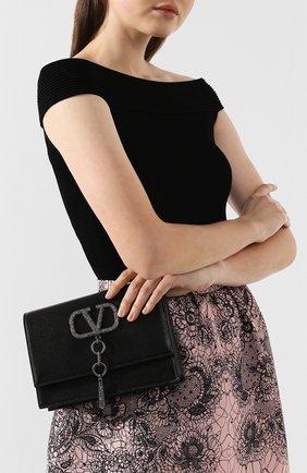 Женская сумка vcase small VALENTINO черного цвета, арт. TW2B0E61/JCM   Фото 2 (Материал: Натуральная кожа; Размер: small; Ремень/цепочка: На ремешке; Сумки-технические: Сумки через плечо)