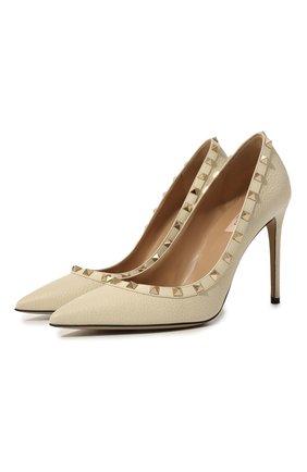 Женская кожаные туфли valentino garavani rockstud VALENTINO белого цвета, арт. TW2S0057/VCE | Фото 1