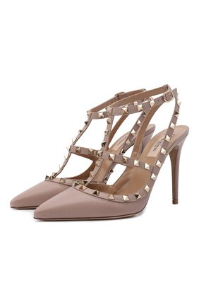 Женская кожаные туфли valentino garavani rockstud VALENTINO бежевого цвета, арт. TW2S0393/VCE | Фото 1