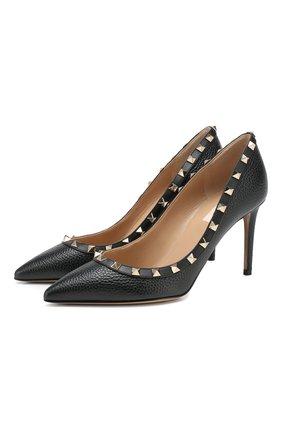 Женская кожаные туфли valentino garavani rockstud VALENTINO черного цвета, арт. TW2S0A04/VCE | Фото 1