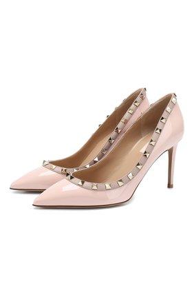 Женская кожаные туфли valentino garavani rockstud VALENTINO светло-розового цвета, арт. TW2S0A04/VNW | Фото 1