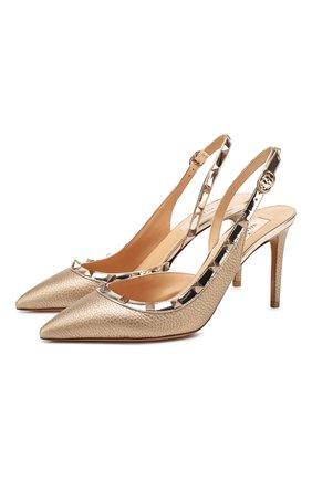 Женская кожаные туфли valentino garavani rockstud VALENTINO золотого цвета, арт. TW2S0H04/NNF | Фото 1