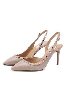 Женская кожаные туфли valentino garavani rockstud VALENTINO бежевого цвета, арт. TW2S0H04/VCE | Фото 1