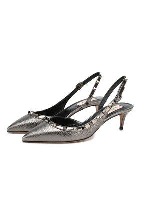 Женская кожаные туфли valentino garavani rockstud VALENTINO серебряного цвета, арт. TW2S0H14/SQX | Фото 1