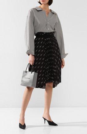 Женские текстильные мюли knife BALENCIAGA черного цвета, арт. 589153/W04Z6 | Фото 2