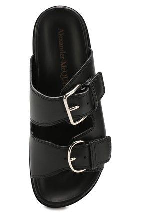 Женские кожаные шлепанцы ALEXANDER MCQUEEN черного цвета, арт. 611722/WHXN3 | Фото 5