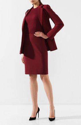Женская юбка BOSS бордового цвета, арт. 50420112 | Фото 2 (Материал внешний: Синтетический материал; Длина Ж (юбки, платья, шорты): До колена)