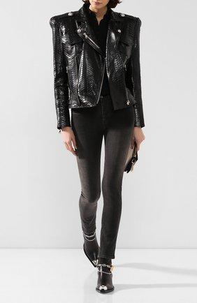 Женская куртка из кожи питона BALMAIN черного цвета, арт. SF18360/L068/PRET | Фото 2