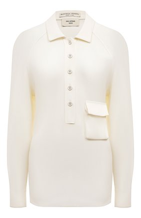 Женское поло из вискозы BOTTEGA VENETA белого цвета, арт. 600921/VKIJ0 | Фото 1