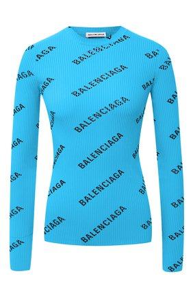 Женская пуловер с логотипом бренда BALENCIAGA бирюзового цвета, арт. 570844/T6140 | Фото 1