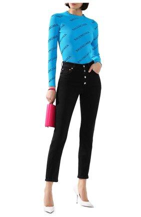 Женская пуловер с логотипом бренда BALENCIAGA бирюзового цвета, арт. 570844/T6140 | Фото 2