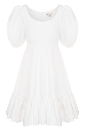 Женское хлопковое платье ALEXANDER MCQUEEN белого цвета, арт. 610403/QAAAD | Фото 1 (Материал подклада: Хлопок; Материал внешний: Хлопок; Длина Ж (юбки, платья, шорты): Мини; Рукава: Короткие)