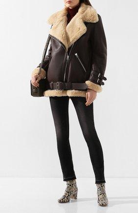 Женская дубленка с косой молнией ACNE STUDIOS коричневого цвета, арт. 1AQ173 | Фото 2