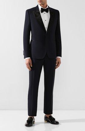 Мужской шерстяные брюки ALEXANDER MCQUEEN темно-синего цвета, арт. 595569/Q0U12 | Фото 2