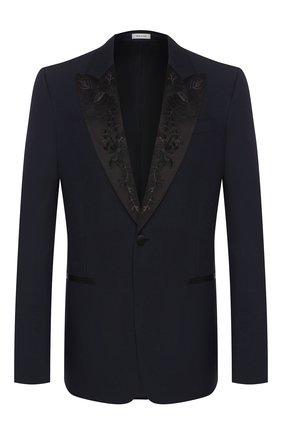 Мужской шерстяной пиджак ALEXANDER MCQUEEN темно-синего цвета, арт. 595147/Q0U12 | Фото 1
