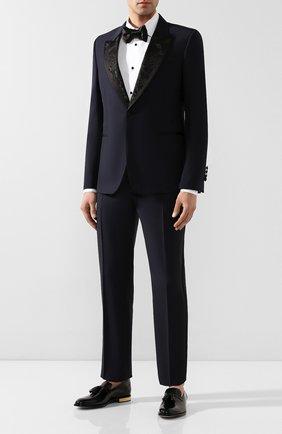 Мужской шерстяной пиджак ALEXANDER MCQUEEN темно-синего цвета, арт. 595147/Q0U12 | Фото 2
