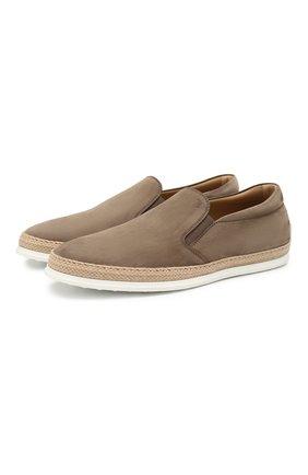 Мужские кожаные слипоны TOD'S светло-коричневого цвета, арт. XXM0TV0K9006RN | Фото 1