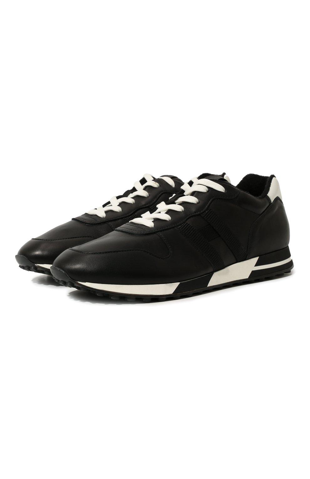 Мужские кожаные кроссовки HOGAN черного цвета, арт. HXM3830AN51LE9   Фото 1 (Материал внутренний: Натуральная кожа, Текстиль; Подошва: Массивная)