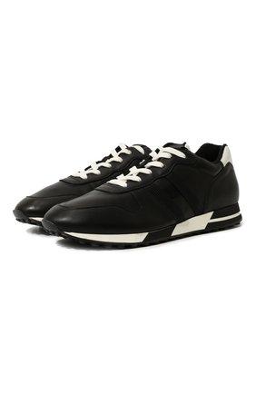 Мужские кожаные кроссовки HOGAN черного цвета, арт. HXM3830AN51LE9 | Фото 1